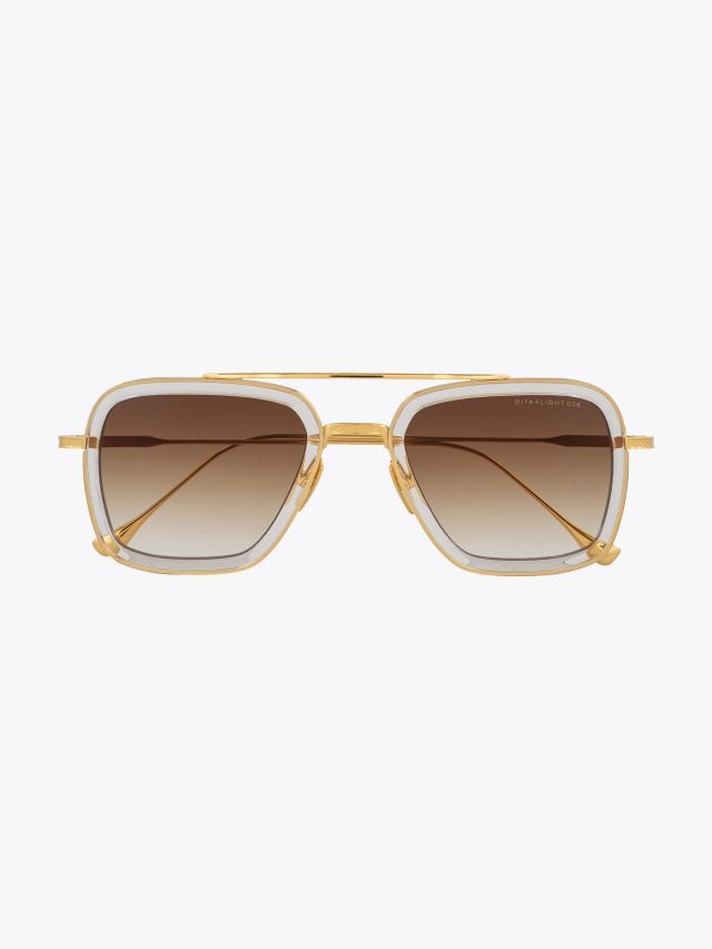 Dita Flight.006 Aviator Sunglasses Clear Crystal – Yellow Gold Front View