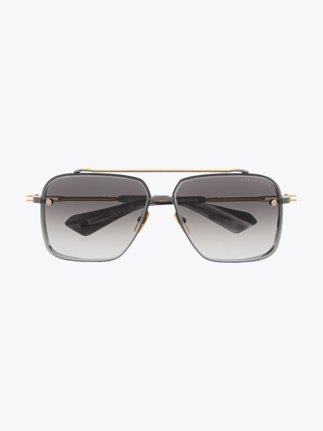 Dita Mach-Six Aviator Sunglasses Black – Gold Front View