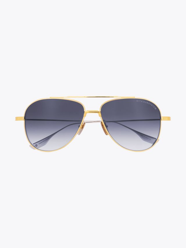 Subsystem - Dita Sunglasses Aviator Yellow Gold/Silver front view