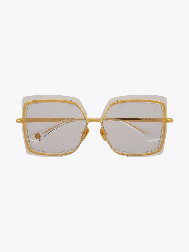 Dita Narcissus Square Sunglasses Crystal Clear – Gold Front View