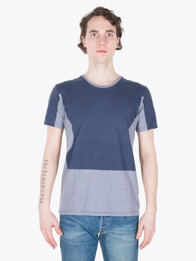 Folk Dual Print Tee Recycled Navy Full View