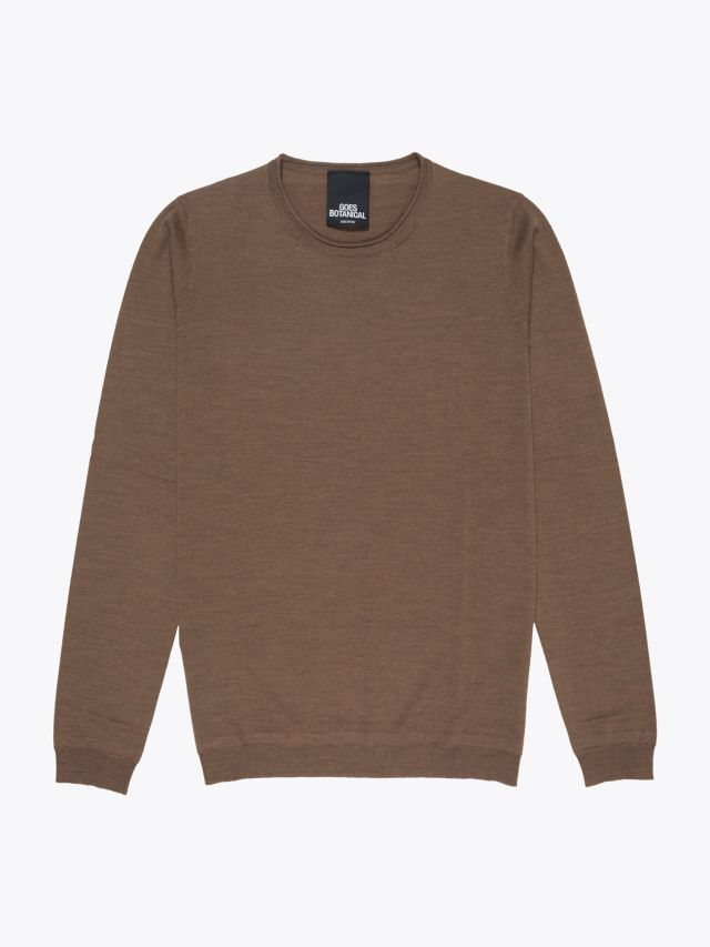 Goes Botanical Wool Knitted Crew-Neck Sweater Brown 1