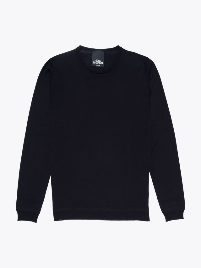 Goes Botanical Wool Knitted Crew-Neck Sweater Black 1