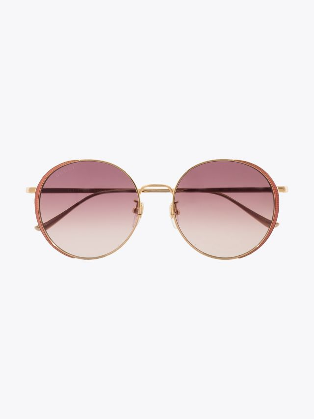 Gucci Rounded Shape Sunglasses Gold / Gold 004 1