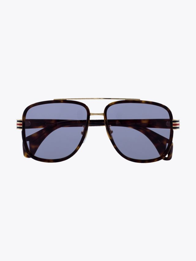 Gucci Rectangular Shape Sunglasses Havana / Havana 1