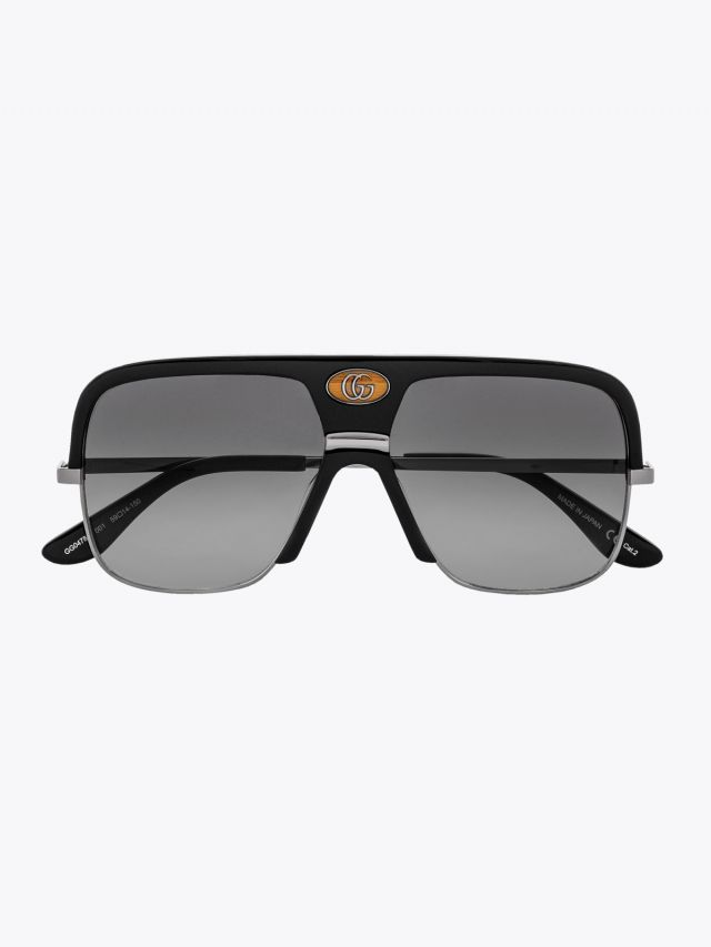 Gucci Aviator w/Double-G Sunglasses Black / Silver 1