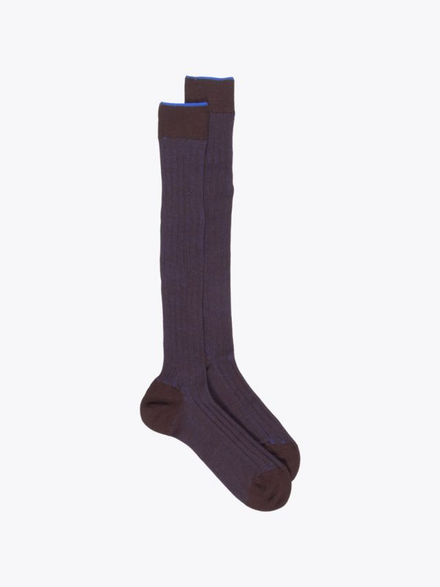 Gallo Long Socks Twin Ribbed Cotton Brown / Blue