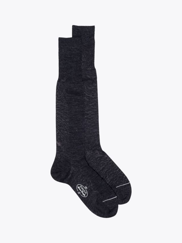 Gallo Long Socks Plain Wool Anthracite 1
