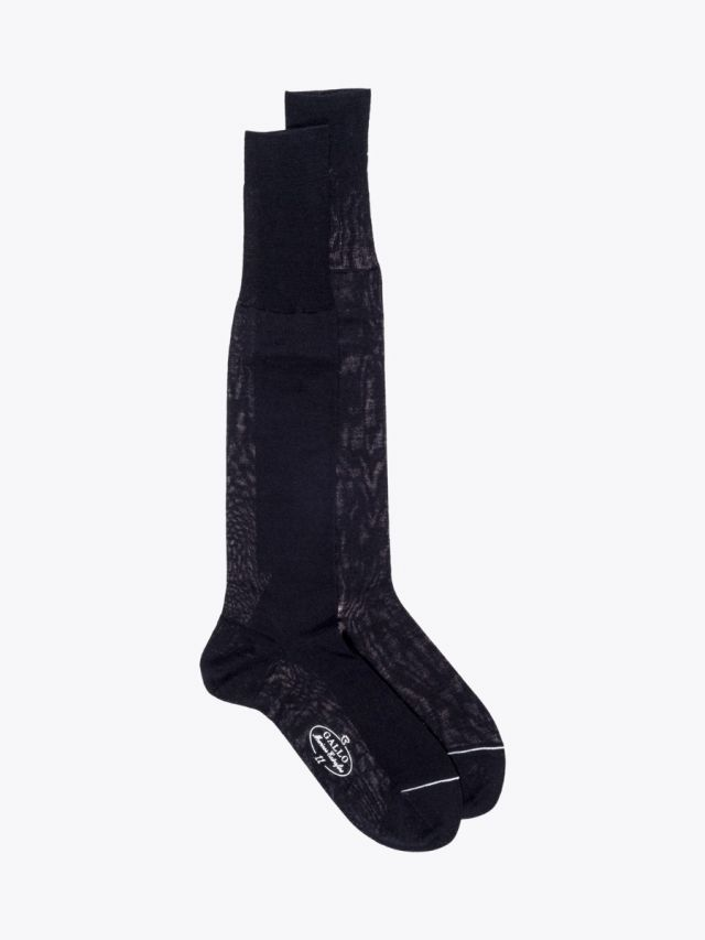 Gallo Long Socks Plain Wool Black 1