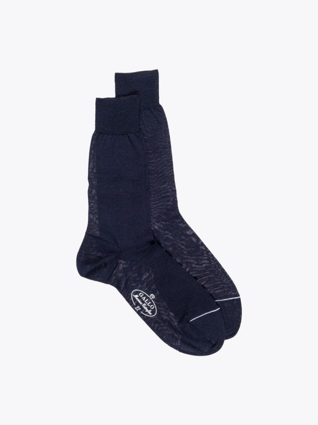 Gallo Short Socks Plain Wool Navy Blue 1