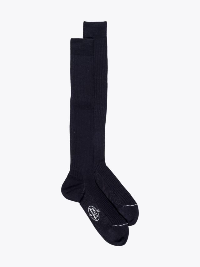 Gallo Long Socks Ribbed Wool Black 1