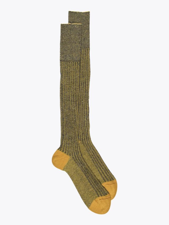 Gallo Long Socks Twin Ribbed Cotton Yellow 1