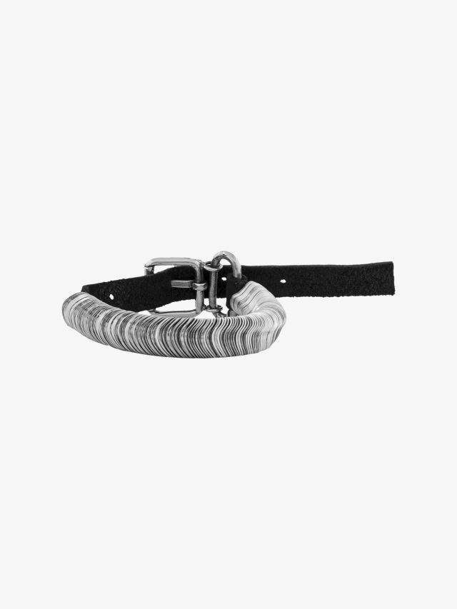 Goti BR118 Silver Bracelet w/Leather Front View