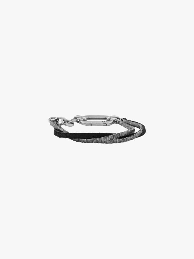 Goti BR1196 Silver Bracelet w/Leather Front View