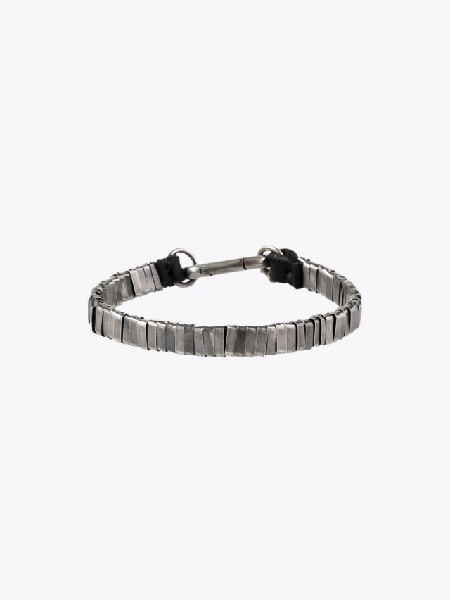 Goti Oval Ring Bracelet Leather and Sterling Silver 1
