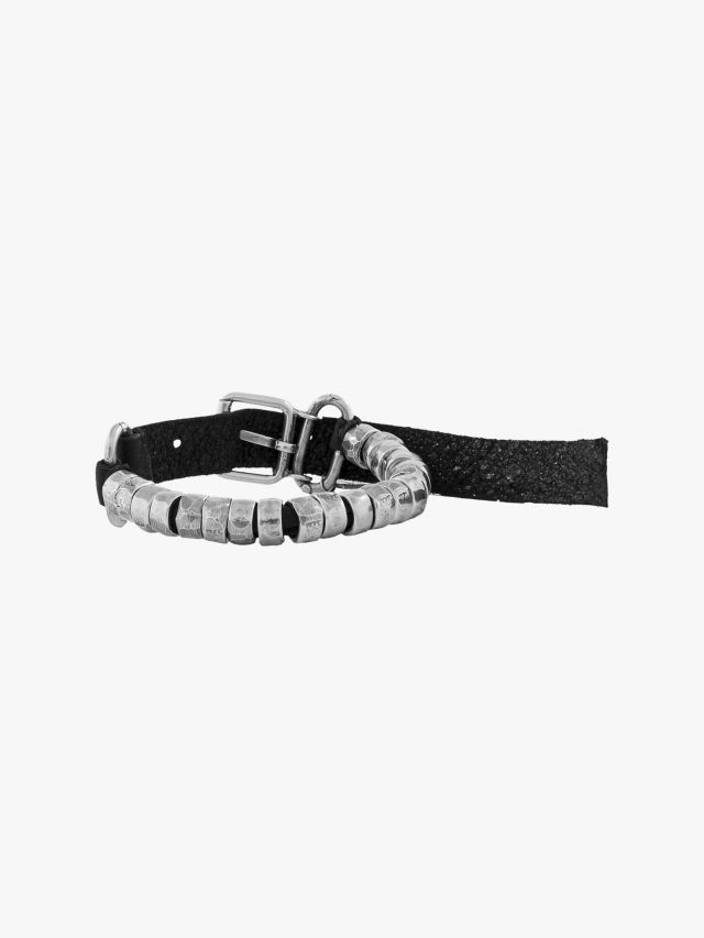 Goti BR201 Silver Bracelet w/Leather Front View