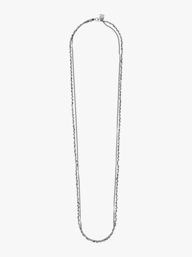 Goti CN1247 Silver Necklace w/Stone Front View