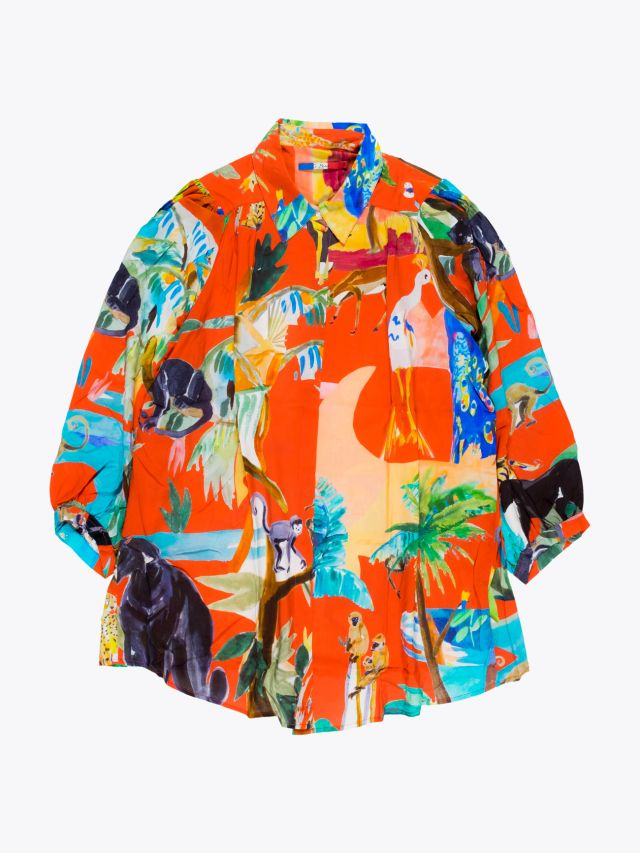 G.Kero Jungle Sauvage Printed Viscose Blouse 1