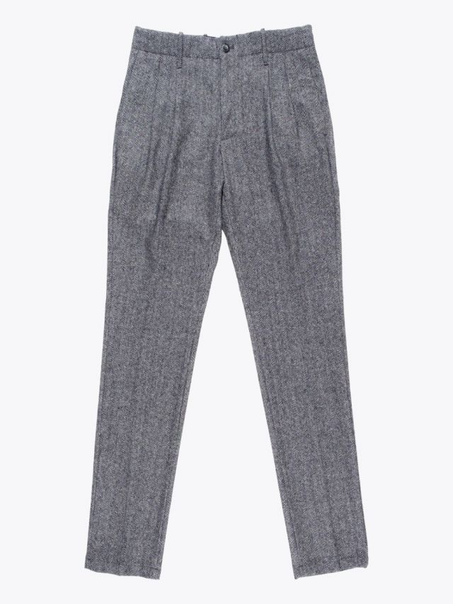 Giab's Archivio Verdi Wool Pleated Pants Herringbone Anthracite 1