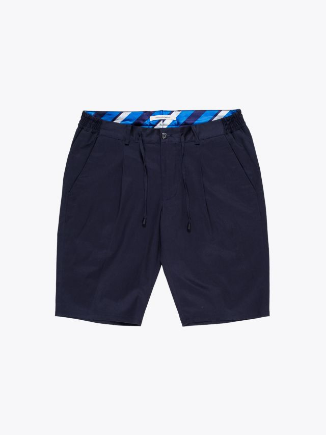 Giab's Archivio Magnifico Stretch Cotton Pleated Short Navy Blue 1