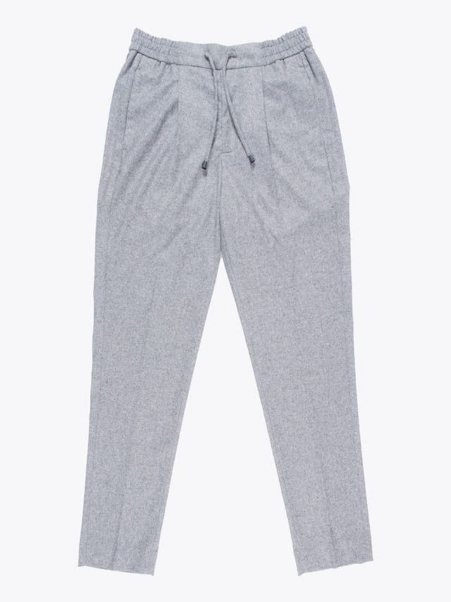 Giab's Archivio Tintoretto Wool Drawstring Pants Grey Melange 1