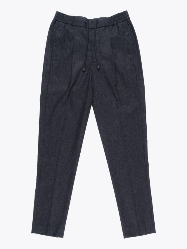 Giab's Archivio Tintoretto Wool Drawstring Pants Anthracite Melange 1