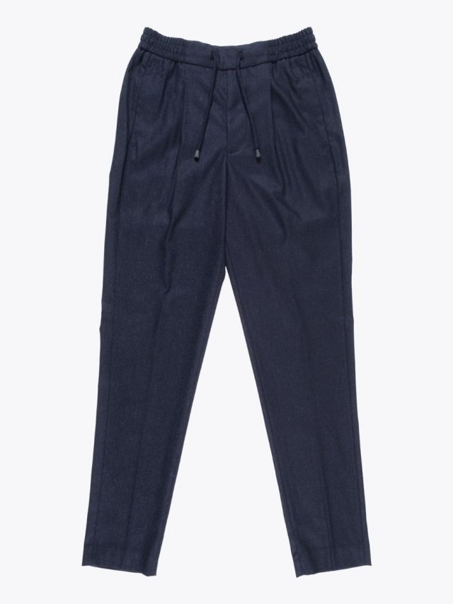 Giab's Archivio Tintoretto Wool Drawstring Pants Navy Blue Melange 1