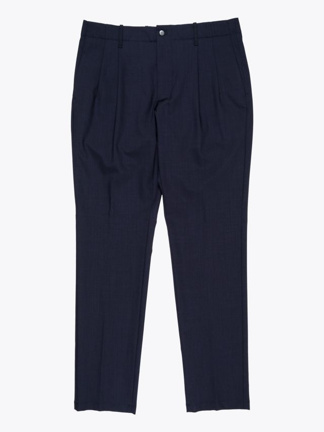Giab's Archivio Verdi  Slim-Fit Stretch Wool Pleated Pants Navy Blue 1
