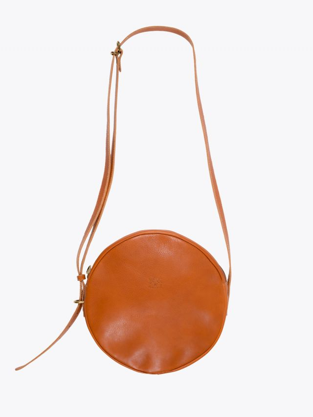 Il Bisonte A2664/M Cowhide Leather Round Bag Caramel 1