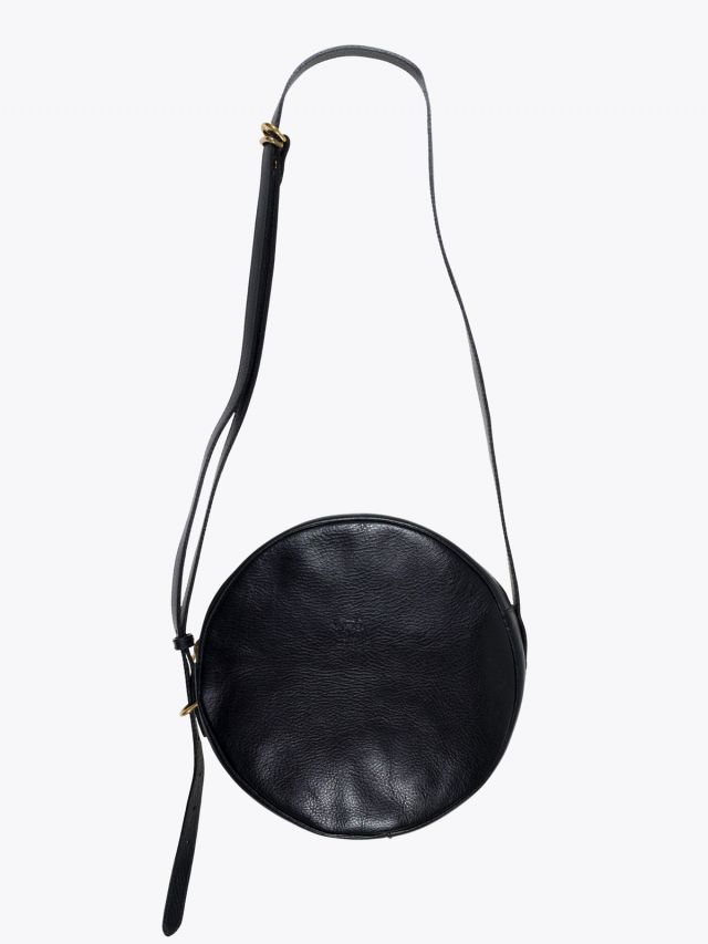 Il Bisonte A2664/M Cowhide Leather Round Bag Black 1