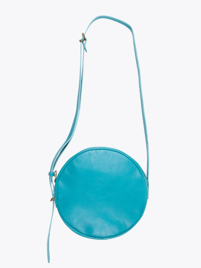 Il Bisonte A2664/M Cowhide Leather Round Bag Turquoise 1