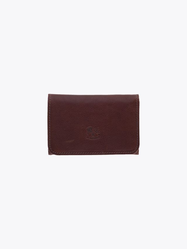 Il Bisonte C0470 Vintage Cowhide Leather Card Case Brown Front