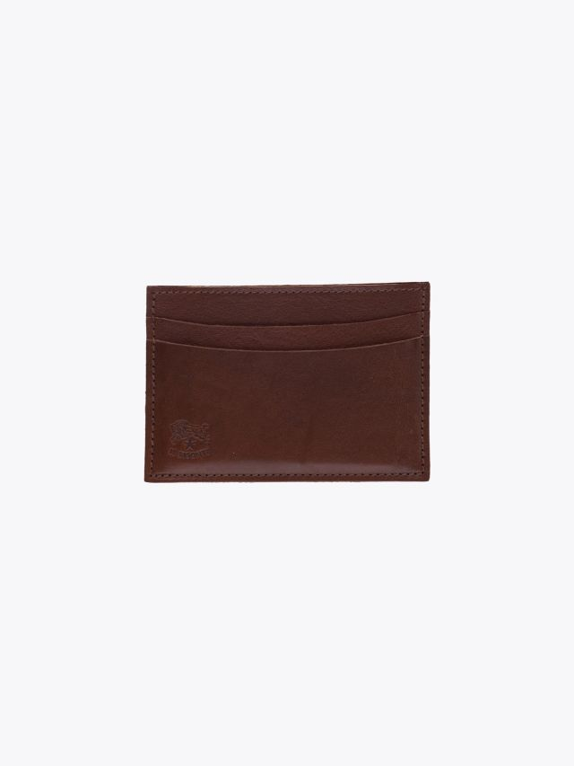 Il Bisonte C0567 Man's Cowhide Leather Cards Holder Brown Front