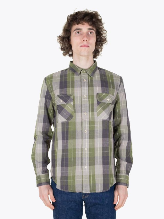 Levi's Vintage Clothing 1950's Shorthorn Shirt Pea Green Full View