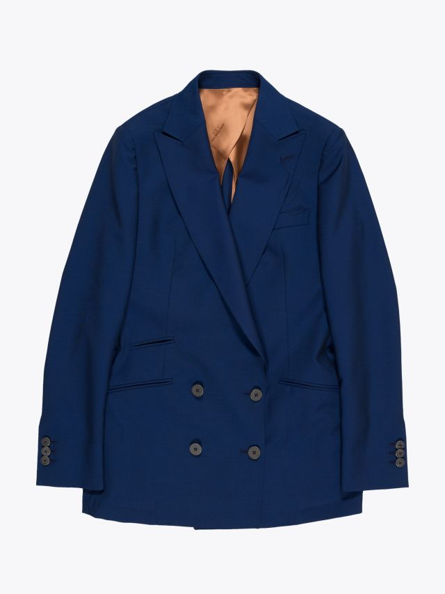 Maurizio Miri Katrine Semi Canvas Double-Breasted Wool Blazer Blue 1