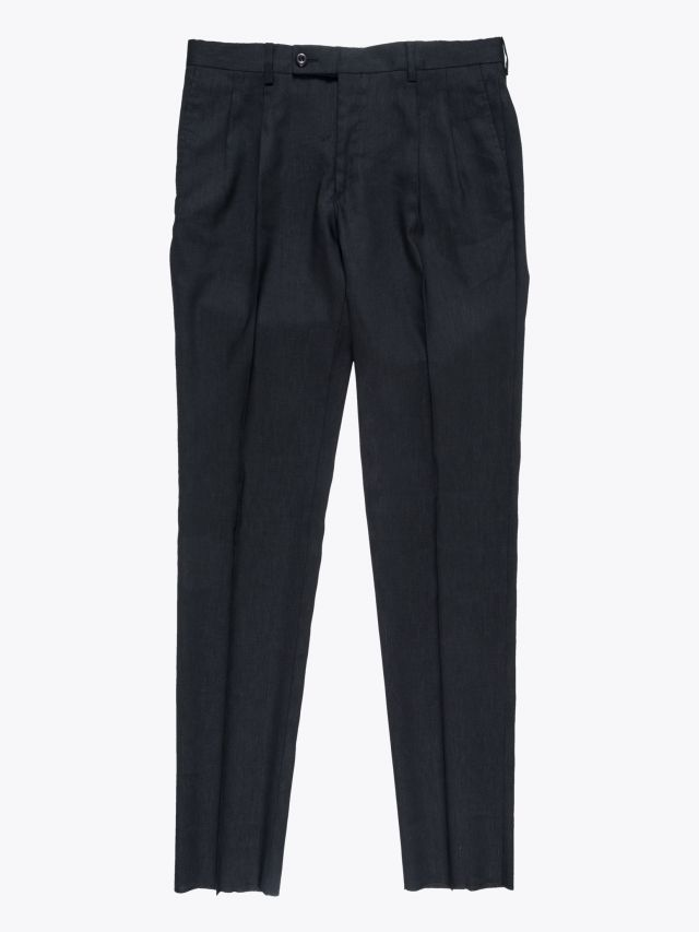 Maurizio Miri Moran Slim-Fit Suit Linen and Wool Trousers Black 1