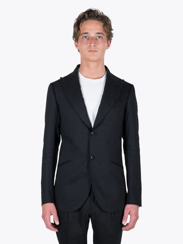 Maurizio Miri Quentin Full Canvas Linen / Wool Suit Jacket Black 1