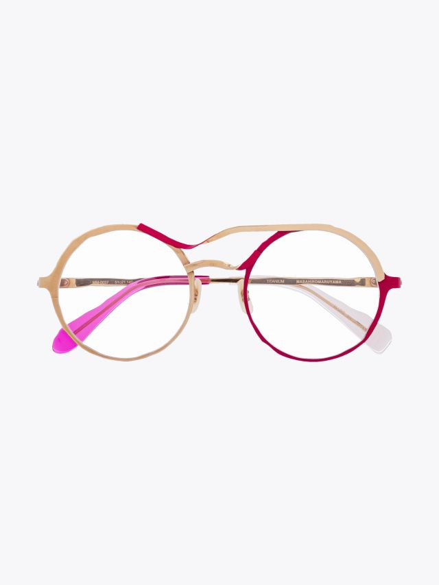 Masahiromaruyama Twist MM-0037 No.4 Optical Glasses Gold / Red Front View