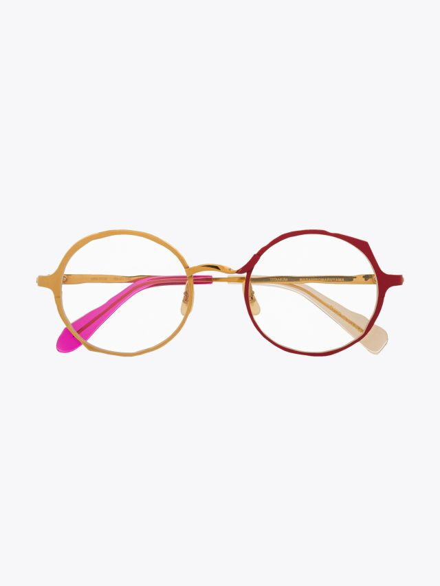 Masahiromaruyama Twist MM-0038 No.4 Optical Glasses Gold / Red Front View