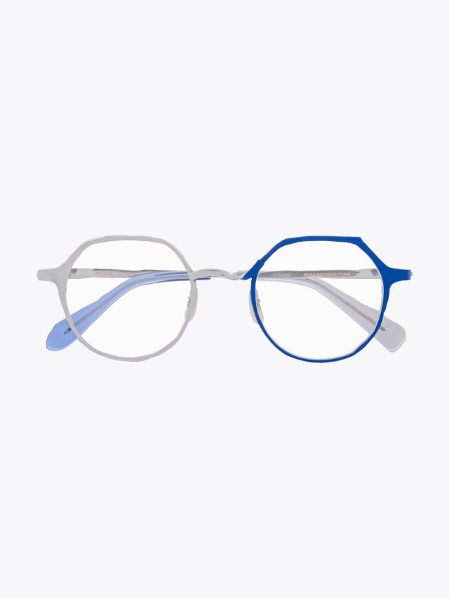 Masahiromaruyama Twist MM-0039 No.3 Optical Glasses Silver / Blue Front View