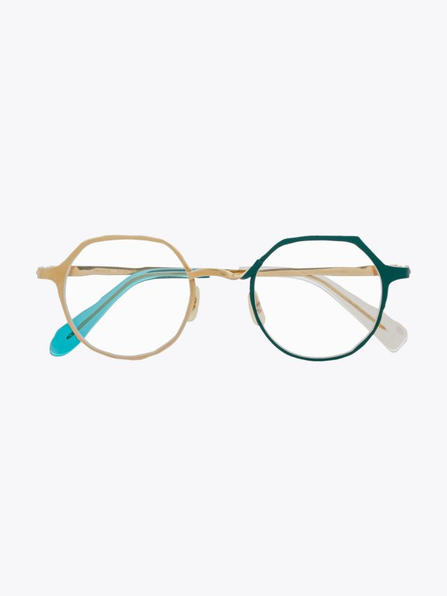 Masahiromaruyama Twist MM-0039 No.4 Optical Glasses Gold / Green Front View