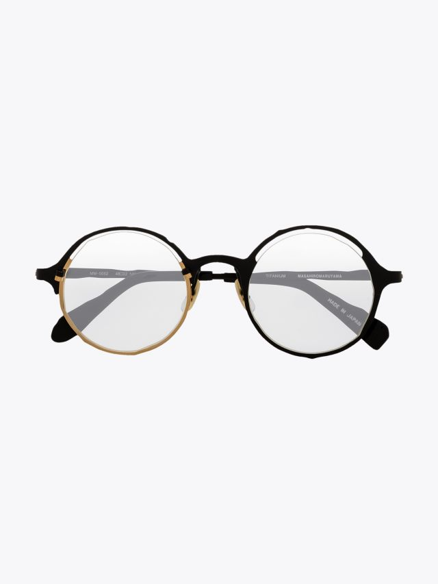 Masahiromaruyama Monocle MM-0052 No.1 Optical Glasses Black / Gold Front View