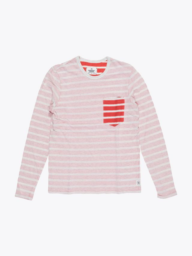 Reigning Champ Long Sleeve Pocket Tee Heather Ash/Red Stripe Front