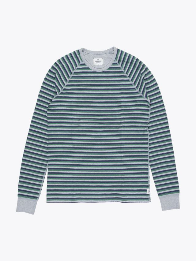Reigning Champ Long Sleeve Striped Tee Grey Front
