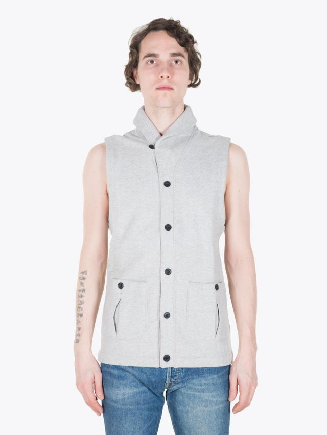 Reigning Champ Shawl Neck Vest Heather Grey Full View