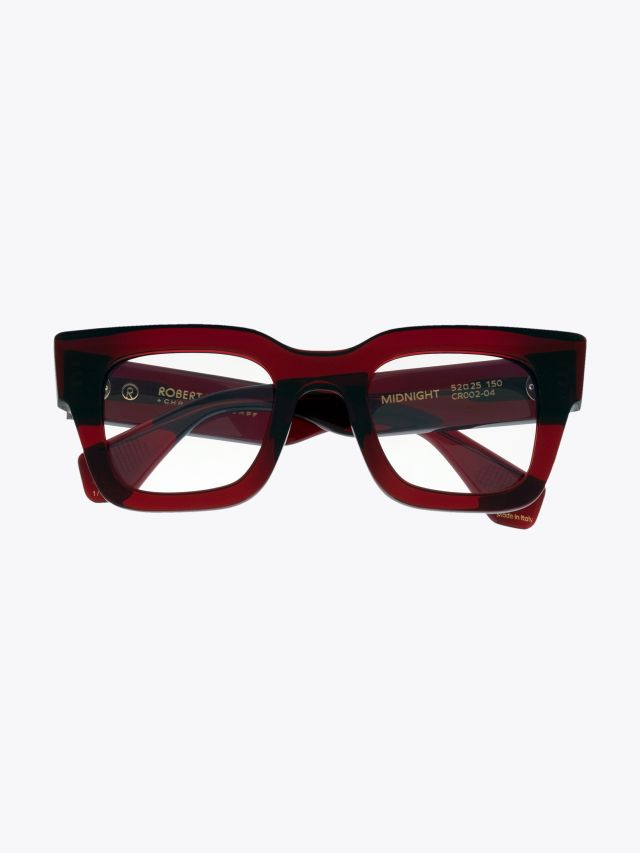 Robert La Roche + Christoph Rumpf Midnight Squared Optical Glasses Crystal Ruby Red Front View