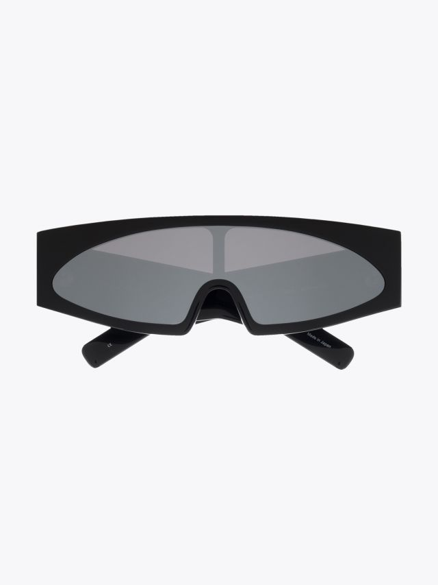 Rick Owens Gene Sunglasses Black / Flash Silver Front View