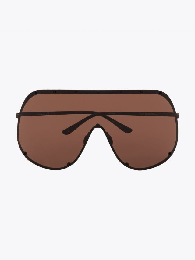 Rick Owens Mask Sunglasses Black / Brown 1