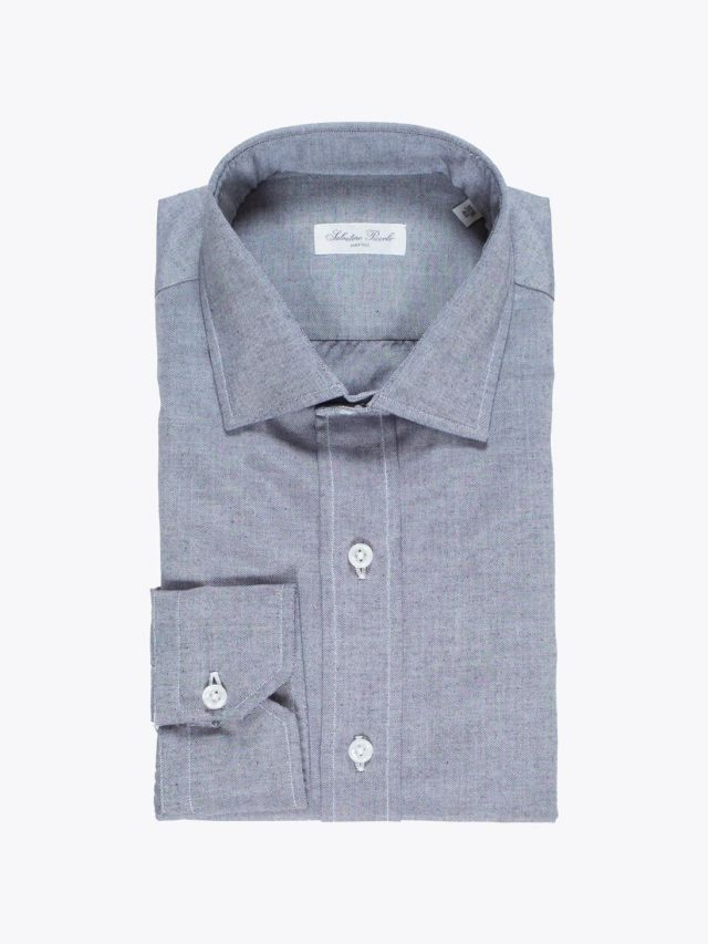 Salvatore Piccolo Slim Fit Collar PC Open Cotton Oxford Shirt Indigo
