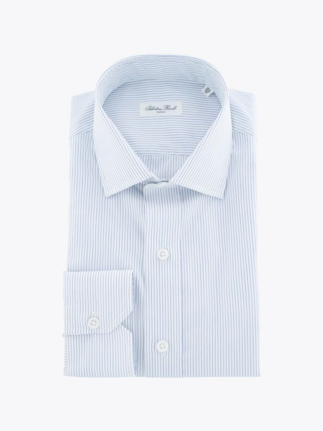 Salvatore Piccolo PC Open Collar Shirt Washed Striped White Blue
